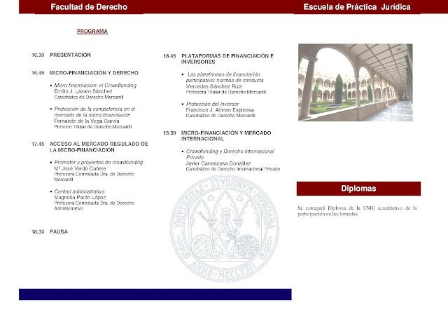 I Jornadas mercantiles Micro-Financiación y Derecho: El Crowdfunding.