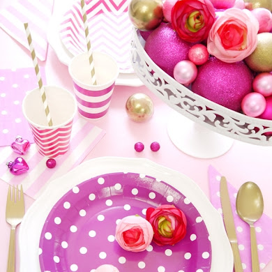 Christmas Pink Party Tablescape and Free Printables