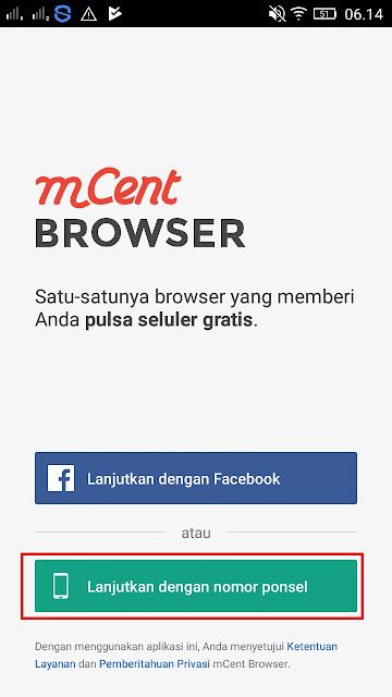 Cara daftar di Aplikasi MCent Browser