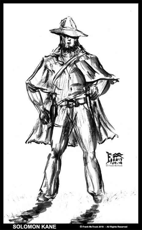 Frank McTruck  ink wash character sketch - 'Solomon Kane'