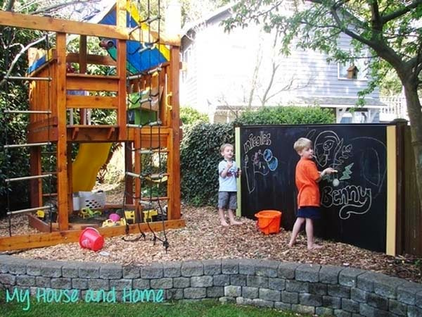27.) Give kids a place to play by setting up a chalk board outside. - These 29 Do-It-Yourself Backyard Ideas For Summer Are Totally Awesome. Definitely Doing #10!