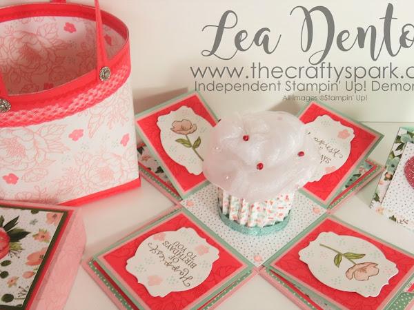 Stampin' Up! Demonstrator Lea Denton - Cupcake Exploding Box Card - Hallett Gift Bag
