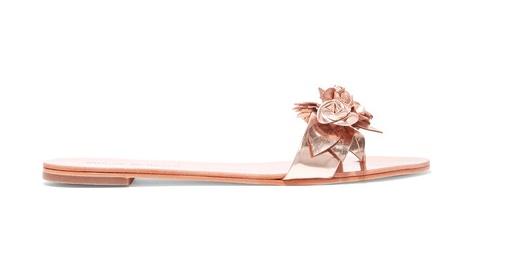 sophia webster lilico appliqued metallic leather slides