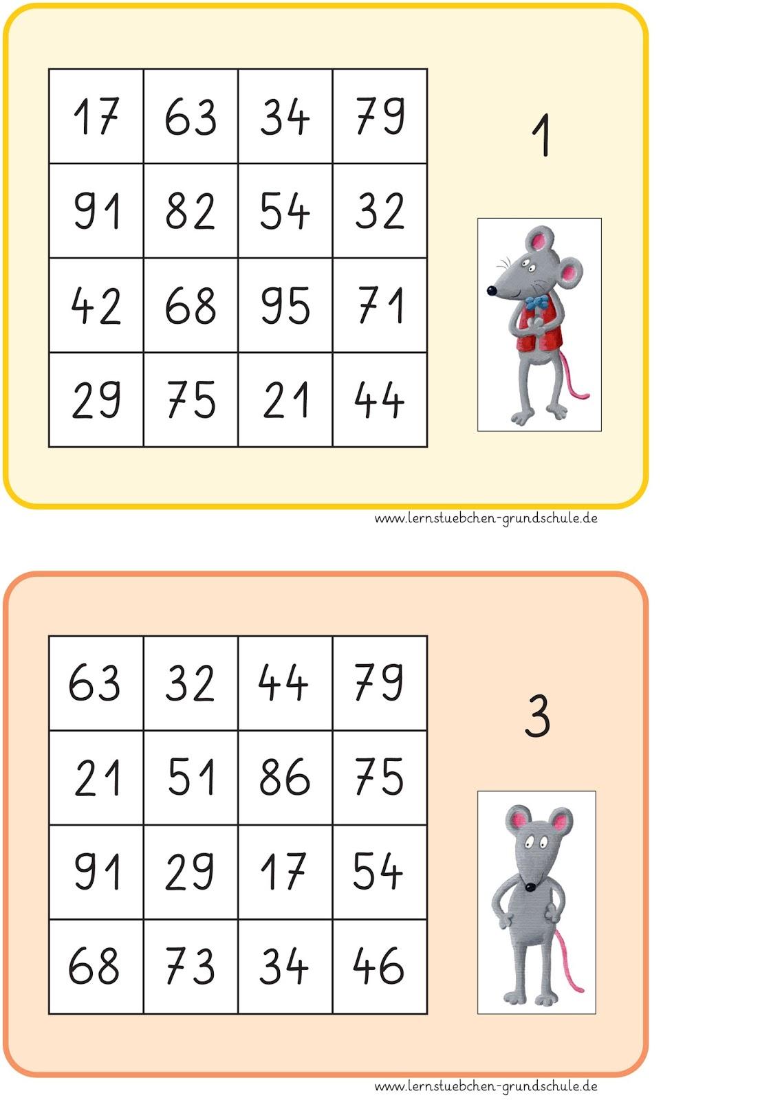 lernst252bchen bingo zum kopfrechnen f252r die klasse