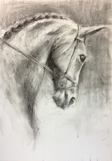 Blackened Skye, Hopetoun Horse Trials Dressage Horse, equestrian art