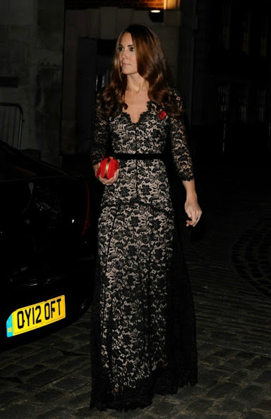 Kate Middleton wore Alice Temperley Dress, Jimmy Choo Cosmic Suede Pumps and she carried Alexander McQueen Clutch