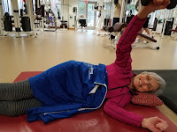 Ann Marie Kotre was Mark Thiesmeyer's first personal training client in 1999, and she still works with Mark today. In this shot, Ann Marie is training with Mark at the Meri Lou Murray Recreation Center in Ann Arbor.