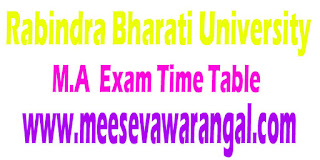 Rabindra Bharati University M.A I/III Sem (Special Supply) 2016 Exam Time Table Under Faculty Of Arts/ Fine Arts