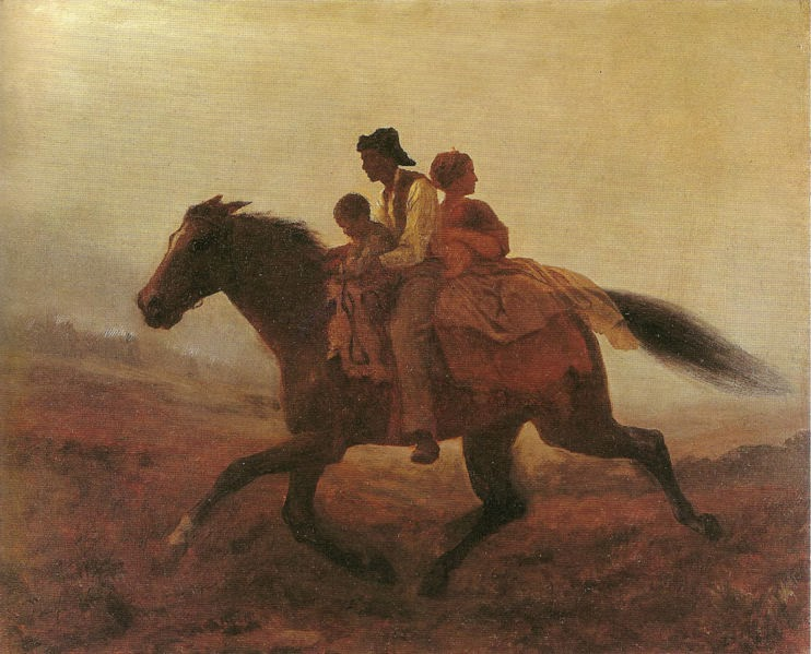 A family escapes slavery on a horse