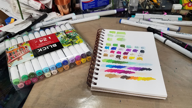Blick Illustrator Markers Swatches and Blending Tests