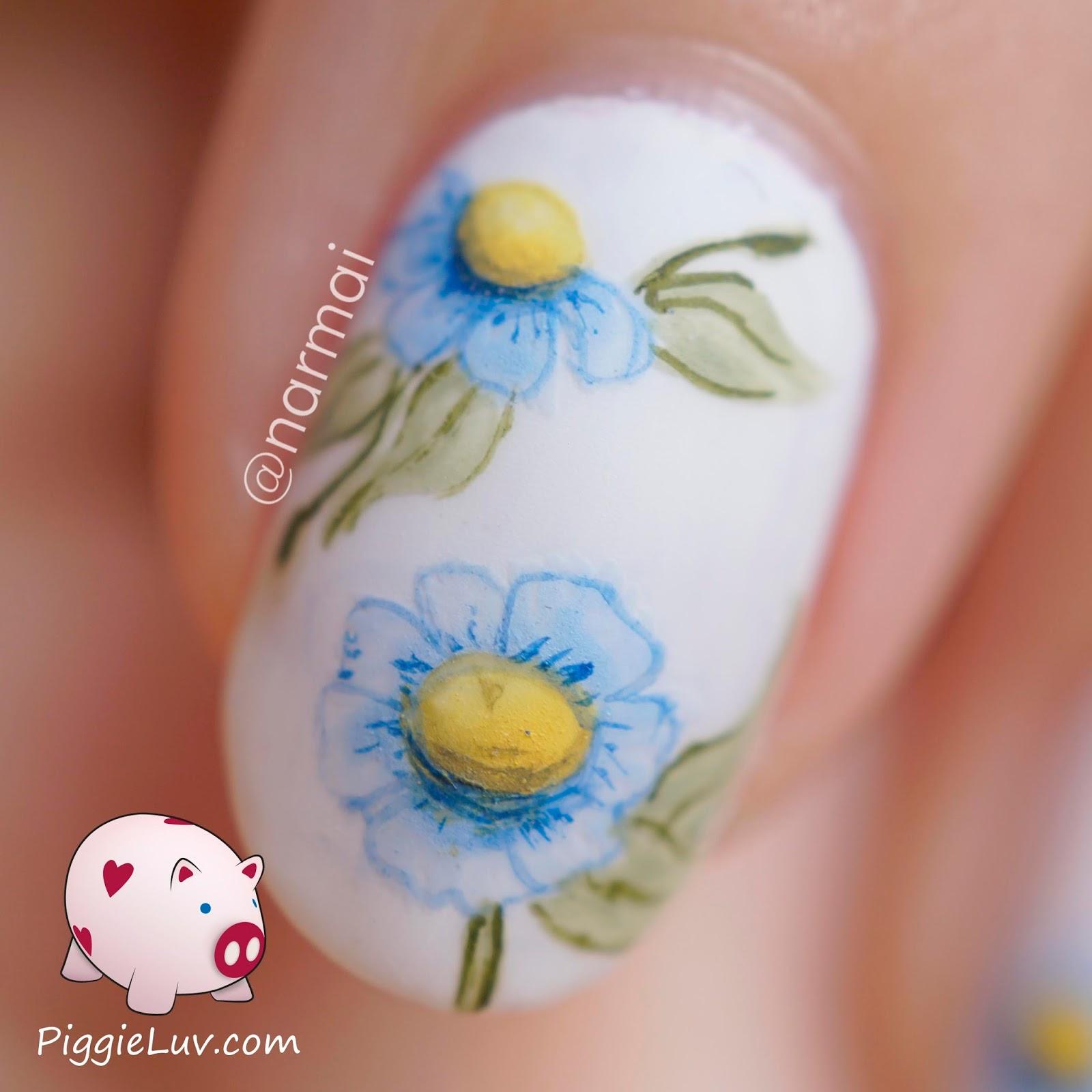 PiggieLuv: May flowers nail art - HPB Linkup