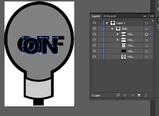 Bulb with both on and off text in Illustrator
