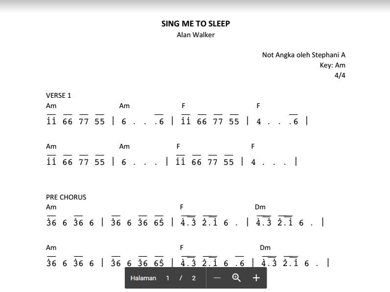 Not angka sing me to sleep alan walker for Piani domestici di alan mascord