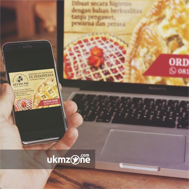 Desain iklan digital iklan internet desain digital ads untuk usaha mikro kecil menengah UMKM IKM kuliner Zeytin Pie Depok - UKM ZONE