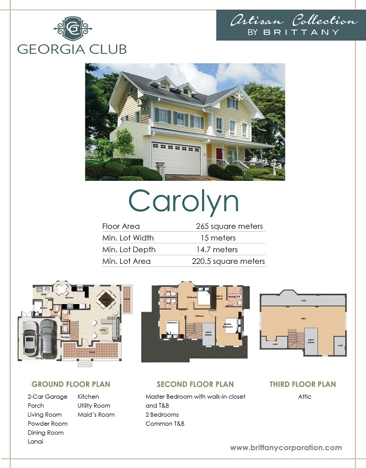 Floor Plan of Carolyn Model - Georgia Club | House and Lot for Sale Sta. Rosa Laguna