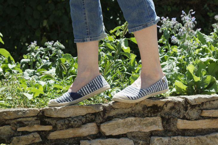 chaussures roxy pour l'été à rayures bleue marine