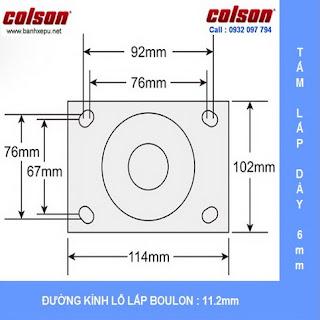 kích thước mặt bích Bánh xe cao su đặc Colson càng cố định phi 200 chịu lực