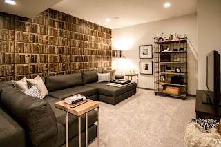 decoración sala en sótano
