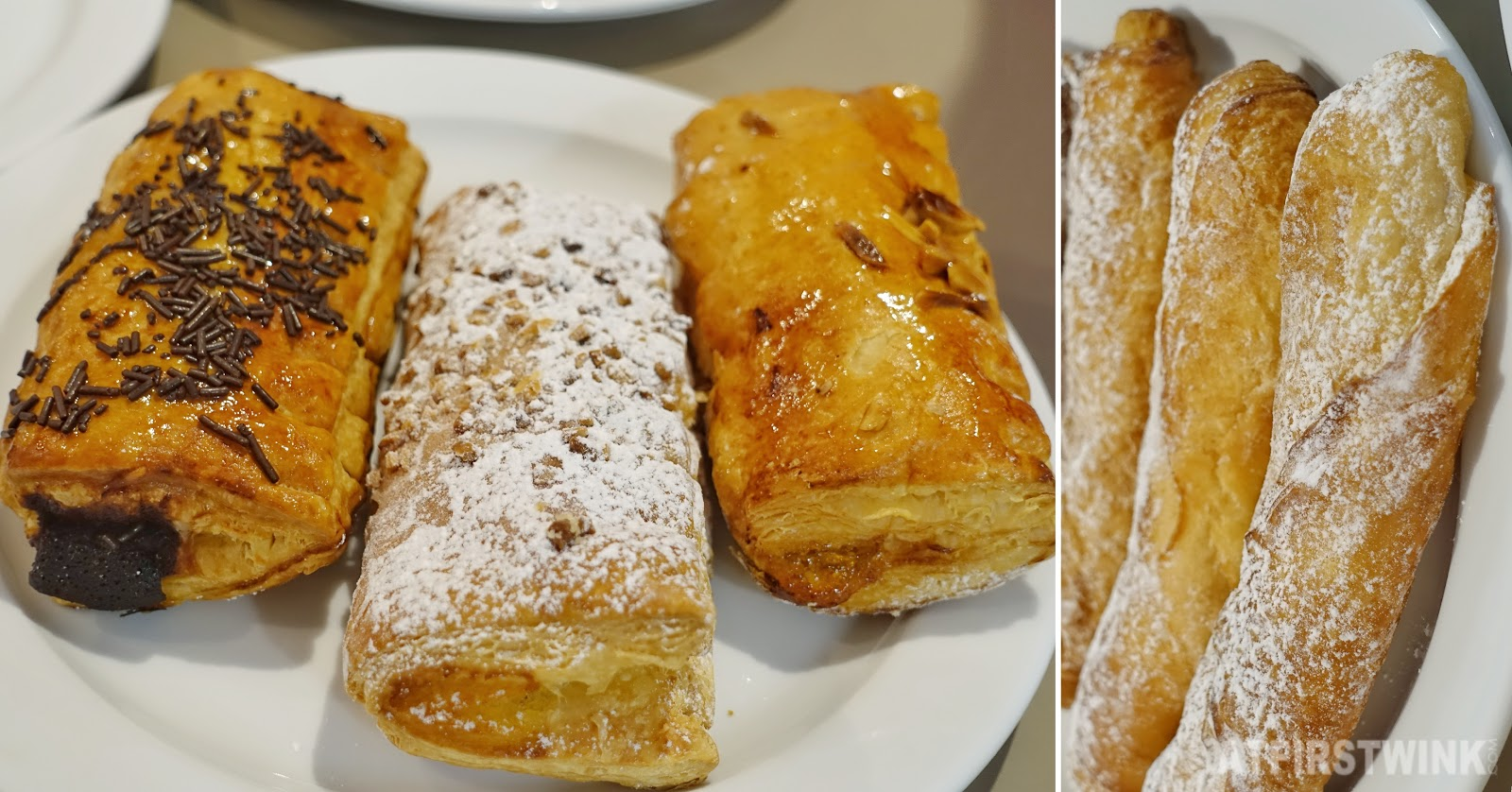 Barcelona bakery audrey fresh pastries chocolate vanilla cream apricot jam powdered sugar sticks