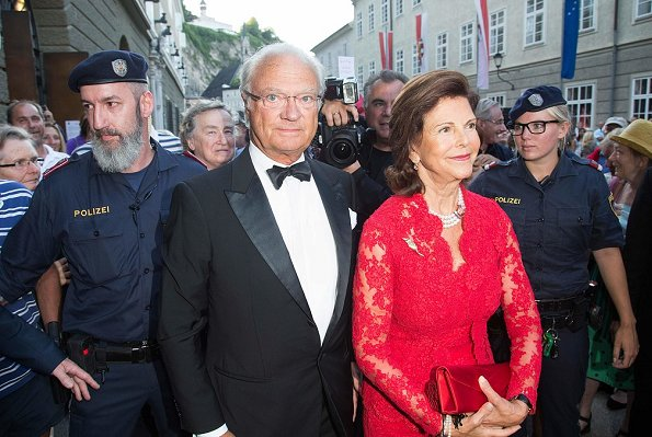 Queen Silvia of Sweden visiting the Opera Manon Lescaut by Giacomo Puccini during the Salzburg Festival in Salzburg