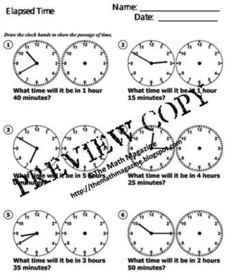 The Math Magazine: Elapsed Time Worksheet with Answers 1