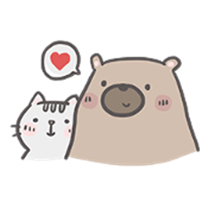 Mr. bear and his cutie cat