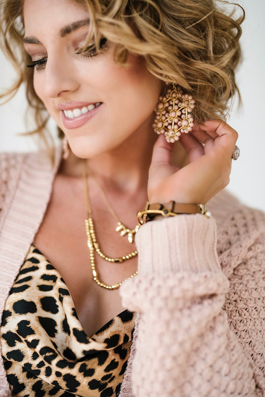 Lisi Lerch Earrings, $34 Pink Cardigan and Leopard Cami - Something Delightful Blog