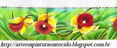 Pintura em Tecido Flores orquideas