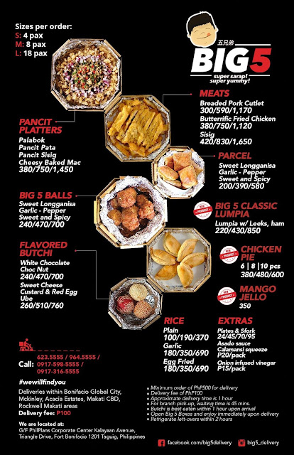 Menu from Big 5 delivery + take out's page