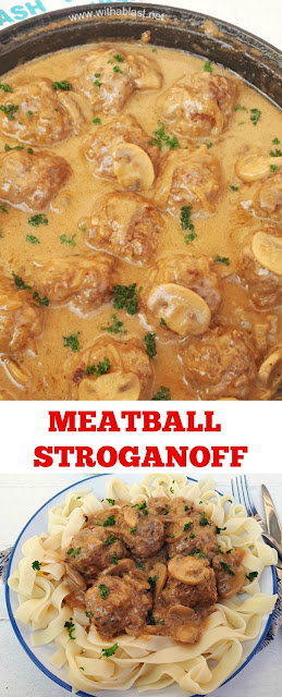 Garlicky Meatballs in a comforting Stroganoff sauce