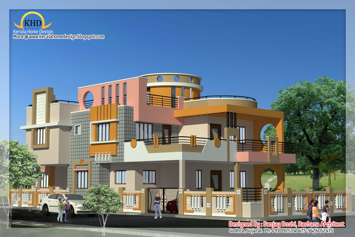 Indian style home plan and elevation design kerala home for Free indian duplex house plans