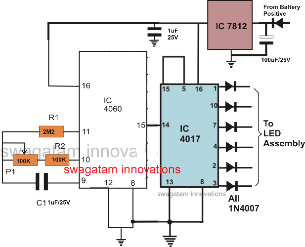 IC 4060 based car tail light chaser circuit