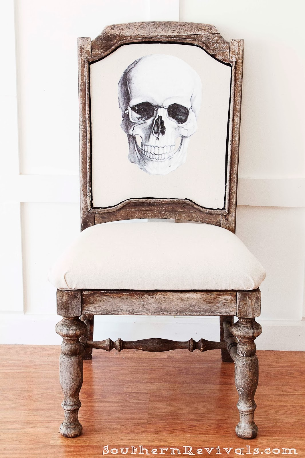 DIY Halloween Skeleton Skull Chair  A Fun Upcycle for a