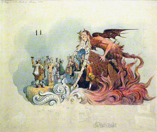 Watercolor Design for the Devil's Basket float
