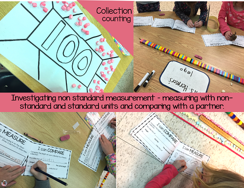 Use 100s day to investigate measurement.  Count out a collection of 100 things and estimate, measure and compare it to 100 cm.