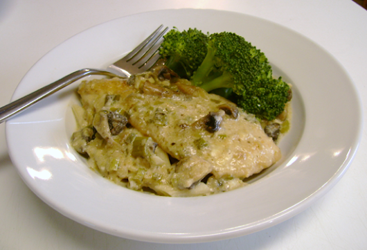 Chicken with Mushrooms and Swiss Cheese