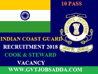 INDIAN COAST GUARD COOK,STEWARD POST 2018