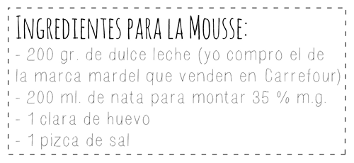 Ingredientes mousse de dulce de leche