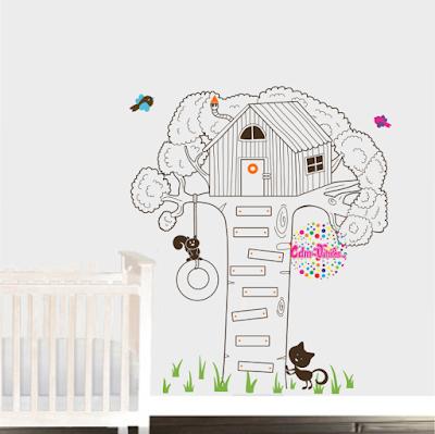 vinilo decorativo casa del arbol infantil bebe pared dormitorio