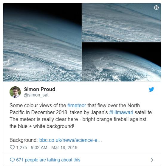 Tweet sobre queda de meteoro no Mar de Bering