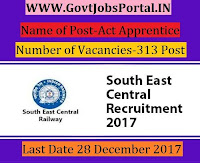 South East Central Railway Recruitment 2017– 313 Act Apprentice