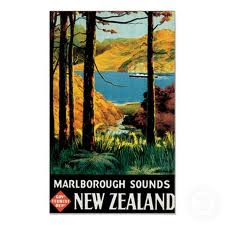 Marlborough Sounds New Zealand Vintage Travel Poster