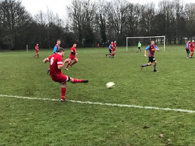 Football action picture from Crosby Colts v Barnetby United in division one of the EC Surfacing Scunthorpe and District Football League - January 5, 2019 - see Nigel Fisher's Brigg Blog