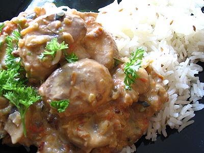 Mushroom Methi Curry with Basmati Onion Rice