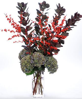 Autumn Spirit Ilex with Cotinus and Antiqued Hydrangea