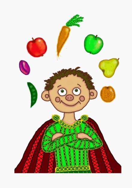 Digitális rajzon egy egészséges táplálkozású királyfi palástban, gondolataiban zöldségek és gyümölcsök forognak, répa, borsó, alma, vilmoskörte.