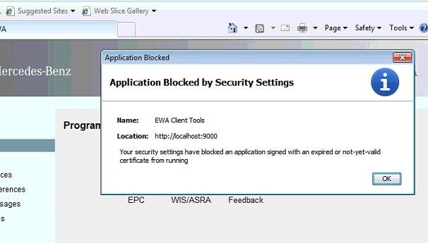 Application blocked by security settings