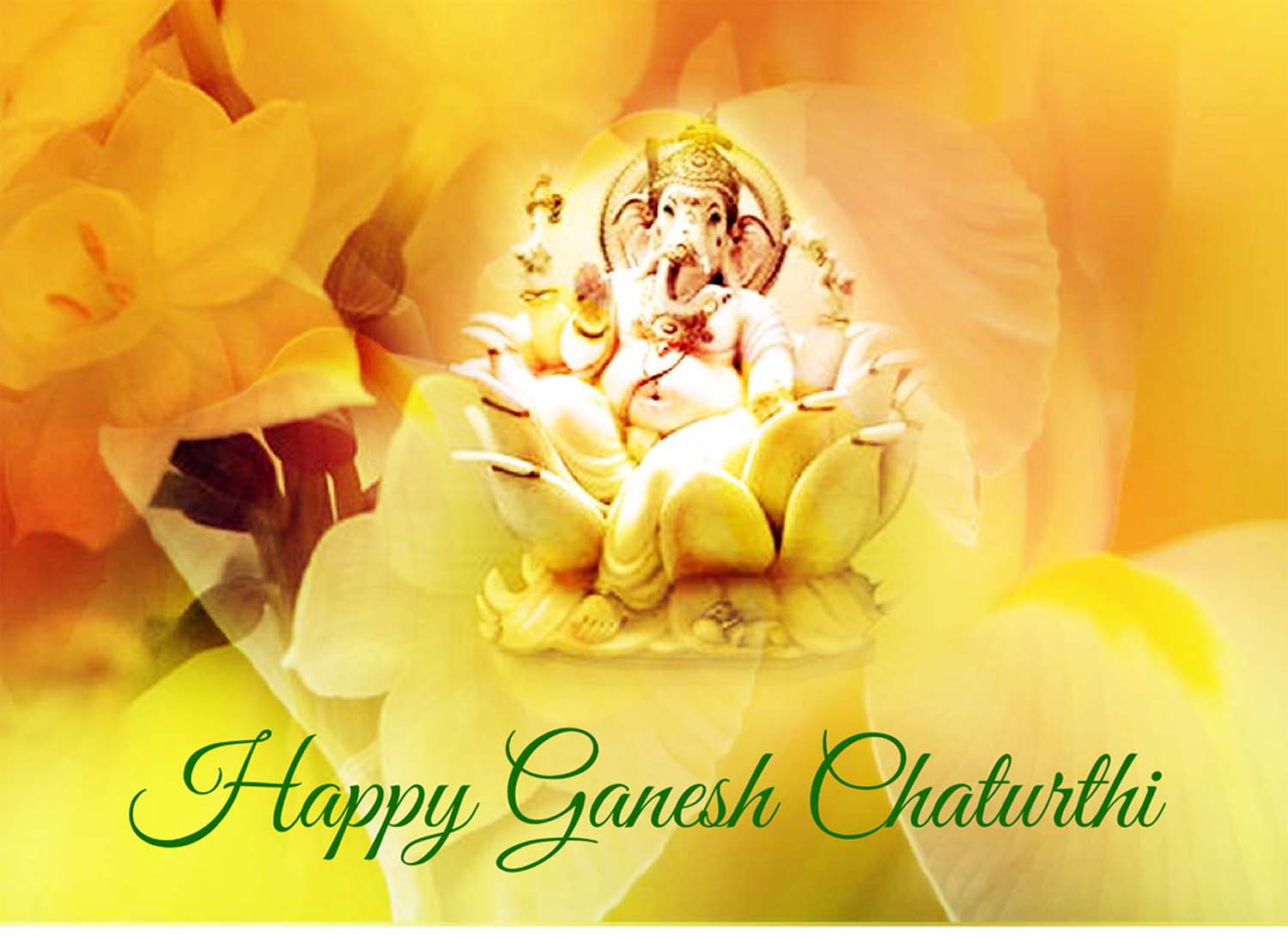 Lovely Happy Ganesh Chaturthi wallpaper in flowers!