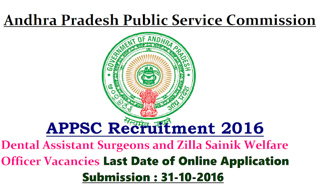 APPSC Recruitment 2016 Dental Assistant Surgeons and Zilla Sainik Welfare Officer Vacancies| Andhra Pradesh Public Service Commission APPSC has issued employment notification related to Andhra Pradesh Public Service Commission APPSC Recruitment 2016 for the APPSC vacancy of 2 Dental Assistant Surgeons and 7 Zilla Sainik Welfare Officer in Andhra Pradesh on its official website www.psc.ap.gov.in|Apply online for the Andhra Pradesh Public Service Commission APPSC Vacancy /2016/10/appsc-andhra-pradesh-public-service-commission-recruitment-2016-apply-online-www-psc-ap-gov-in-for-dental-assistant-surgeons-zilla-sainik-welfare-officer-vacancies.html