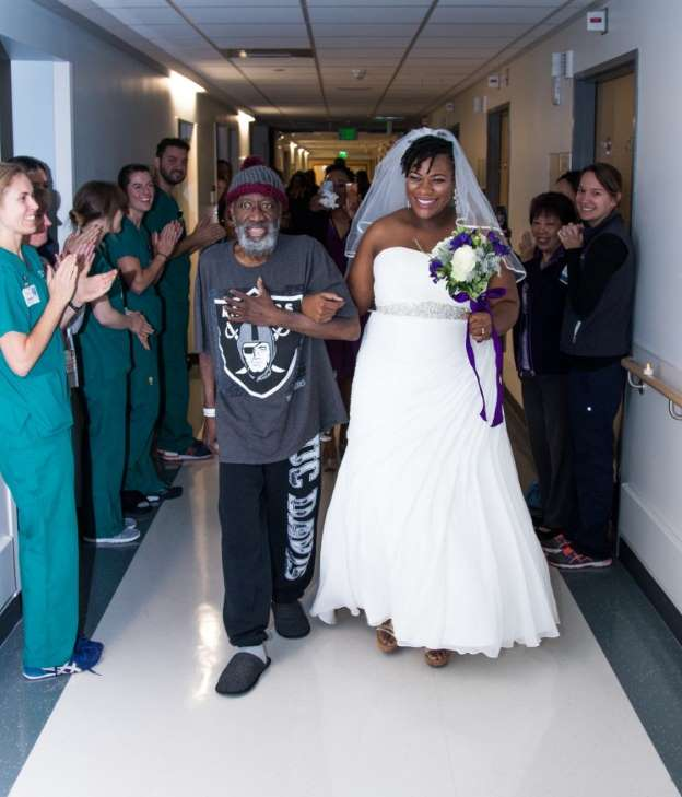 She wanted her dying dad to walk her down the aisle — so she moved the wedding to the hospital